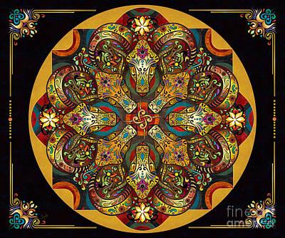 Mandala Sacred Rams - Dark Version Sp Poster by Bedros Awak