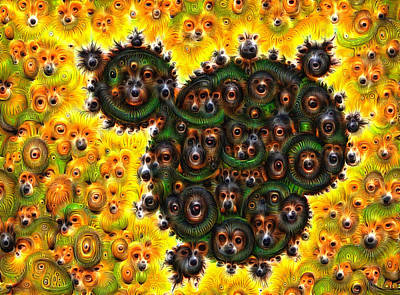 Mandelbrot Dogs And Eyes Deep Dream Poster by Matthias Hauser