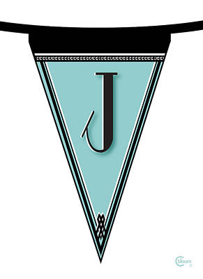 Manhattan 1920s Deco Blues Banner Monogram Letter Initial J Poster by Cecely Bloom