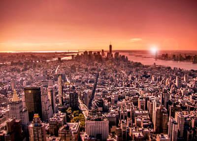 Manhattan In Red Poster by Nicklas Gustafsson