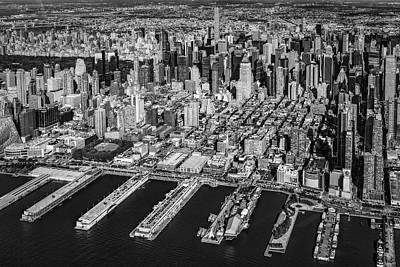 Manhattan New York City Aerial View Bw Poster by Susan Candelario
