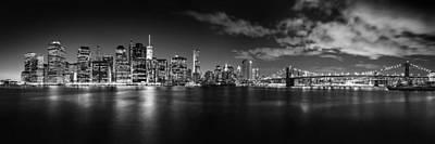 Manhattan Skyline At Night Poster by Az Jackson