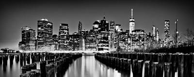 Manhattan Skyline Bw Poster by Az Jackson