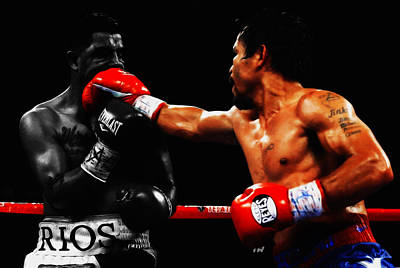 Manny Pacquiao Making Contact Poster by Brian Reaves