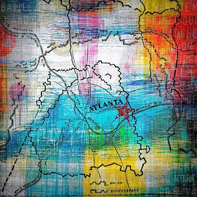 Map Of Atlanta Poster by Brandi Fitzgerald