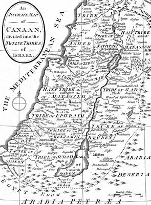 Map Of Canaan Showing The Twelve Tribes Poster by English School
