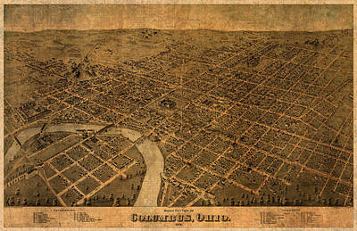 Map Of Columbus Ohio Vintage Street Schematic Birds Eye View On Worn Parchment Poster by Design Turnpike