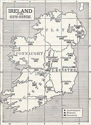 Map Of Ireland In The Sixth Century Poster by Vintage Design Pics