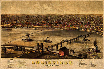 Map Of Louisville Kentucky Vintage Birds Eye View Aerial Schematic On Old Distressed Canvas Poster by Design Turnpike