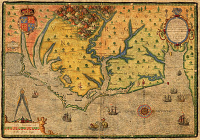 Map Of Roanoke Virginia Lost Colony 1585 Vintage Schematic Of Ocean Coast On Worn Parchment Poster by Design Turnpike
