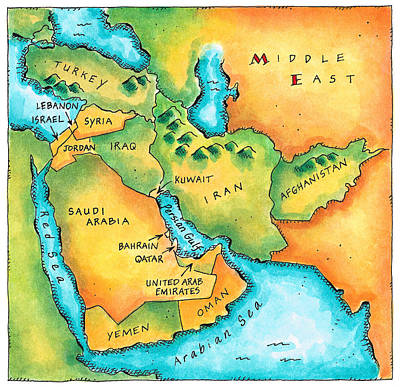 Map Of The Middle East Poster by Jennifer Thermes