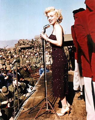 Marilyn Monroe Entertaining The Troops Poster by Everett