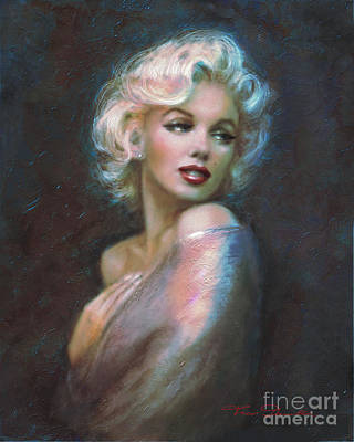 Marilyn Romantic Ww Dark Blue Poster by Theo Danella