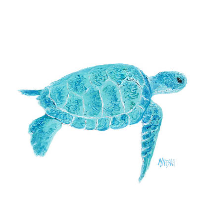 Marine Turtle Painting On White Poster by Jan Matson