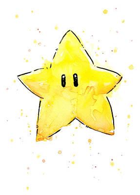 Mario Invincibility Star Watercolor Poster by Olga Shvartsur
