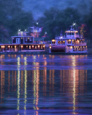 Mark Twain - Riverboat - Hannibal - Missouri Poster by Nikolyn McDonald