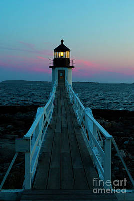 Marshall Point Lighthouse At Sunset Poster by Diane Diederich