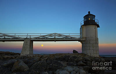 Marshall Point Lighthouse With Full Moon Poster by Diane Diederich