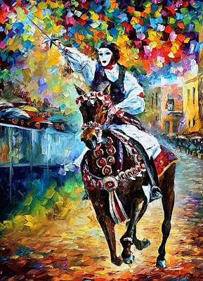 Masked Horseman - Palette Knife Oil Painting On Canvas By Leonid Afremov Poster by Leonid Afremov