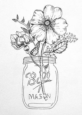 Mason Jar With Flowers Poster by Kelly Bowers