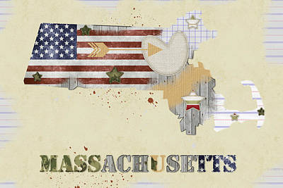Massachusetts Mixed Media Map Poster by Mihaela Pater