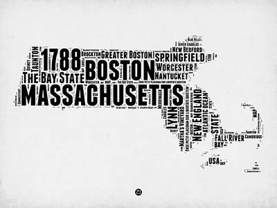 Massachusetts Word Cloud Map 2 Poster by Naxart Studio