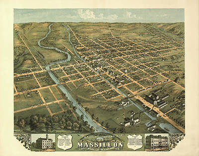 Massillon Ohio 1870 Poster by Mountain Dreams