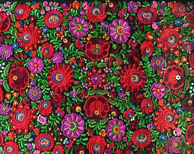 Matyo Hungarian Magyar Folk Embroidery Detail Poster by Andrea Lazar