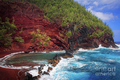 Maui Red Sand Beach Poster by Inge Johnsson