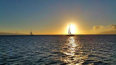 Maui Sailboat Sunset Poster by Stacia Blase