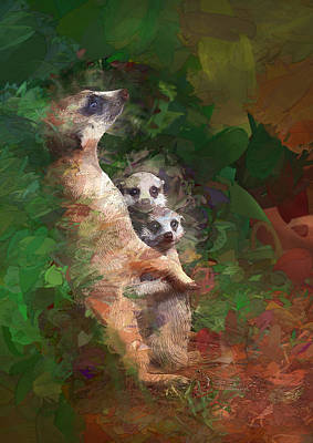 Meerkat Mom And Pups Poster by Elaine Plesser