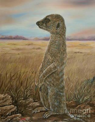 Meerkat Sentry Oil Painting Poster by Avril Brand