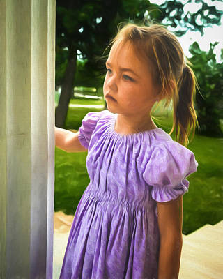 Melancholy Girl In A Purple Dress Poster by Chris Bordeleau