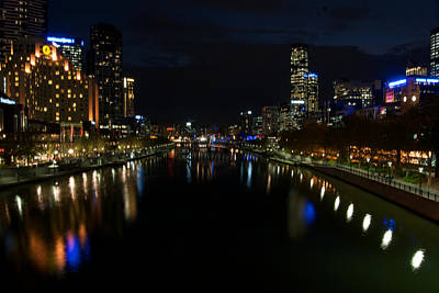 Melbourne Scene View From Middle Of The Pricess Bridge Poster by Win Naing
