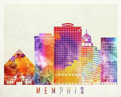 Memphis Landmarks Watercolor Poster Poster by Pablo Romero