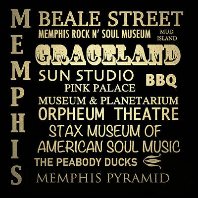Memphis Tennessee Famous Landmarks Poster by Patricia Lintner
