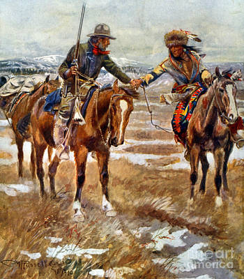 Men Shaking Hands On Horseback Poster by Charles Marion Russell