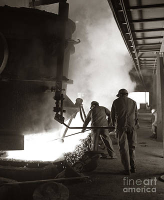Men Working Blast Furnace At Steel Poster by H. Armstrong Roberts/ClassicStock