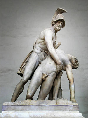 Menelaus And Patroclus Sculpture Poster by Artecco Fine Art Photography