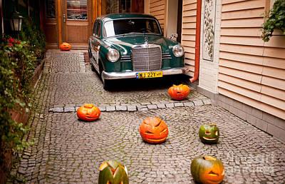 Mercedes Benz Car And Pumpkins Poster by Arletta Cwalina