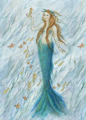 Mermaid And Her Golden Seahorse Poster by Tina Obrien