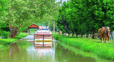 Metamora, Whitewater Canal, Ben Franklin Boat In Indiana Poster by Ina Kratzsch