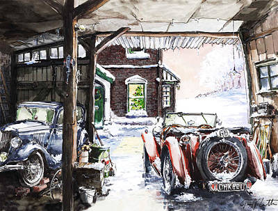 Mg Tc And A Ford 8 Y Model Out In The Barn Poster by Geoff Latter