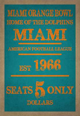 Miami Dolphins Sign Poster by Joe Hamilton