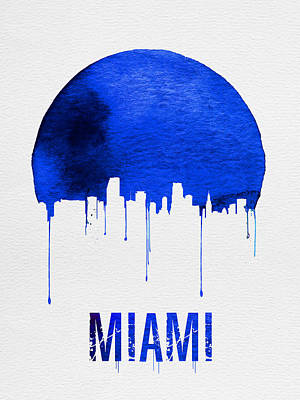 Miami Skyline Blue Poster by Naxart Studio
