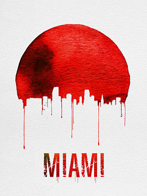 Miami Skyline Red Poster by Naxart Studio