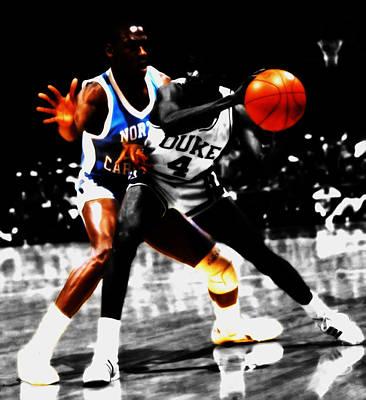 Michael Jordan As A Tarheel Poster by Brian Reaves