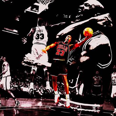 Michael Jordan Going Left Hand Poster by Brian Reaves