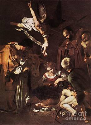 Nativity With St Francis And St Lawrence Poster by Michelangelo Merisi da Caravaggio