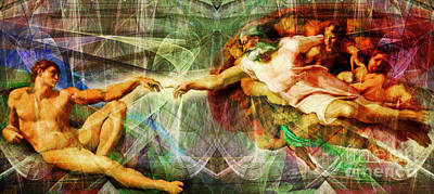 Michelangelo The Creation Of Adam In Abstract Space 20150622 Poster by Wingsdomain Art and Photography